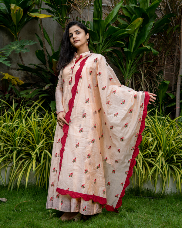 Peach embroidered cotton anarkali with dupatta - set of two 2