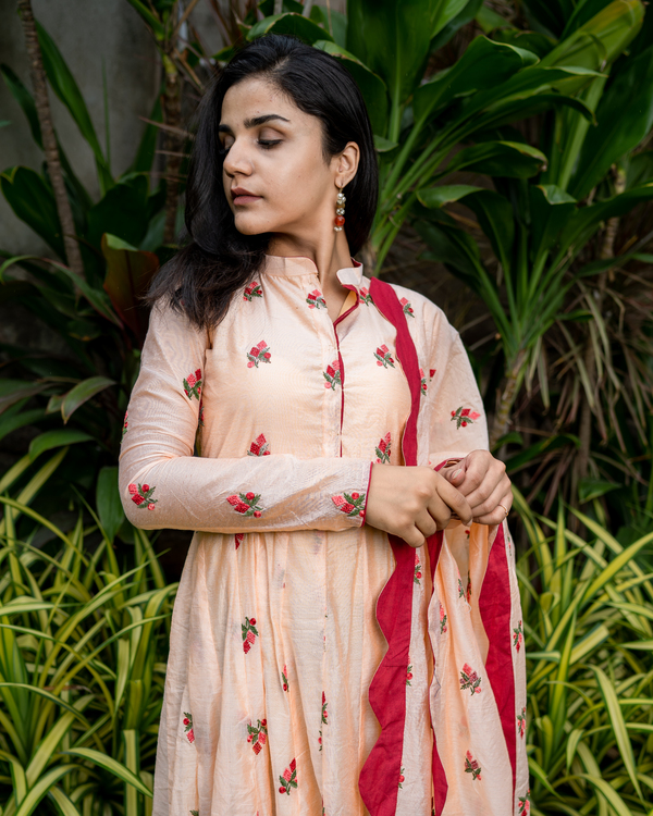 Peach embroidered cotton anarkali with dupatta - set of two 3