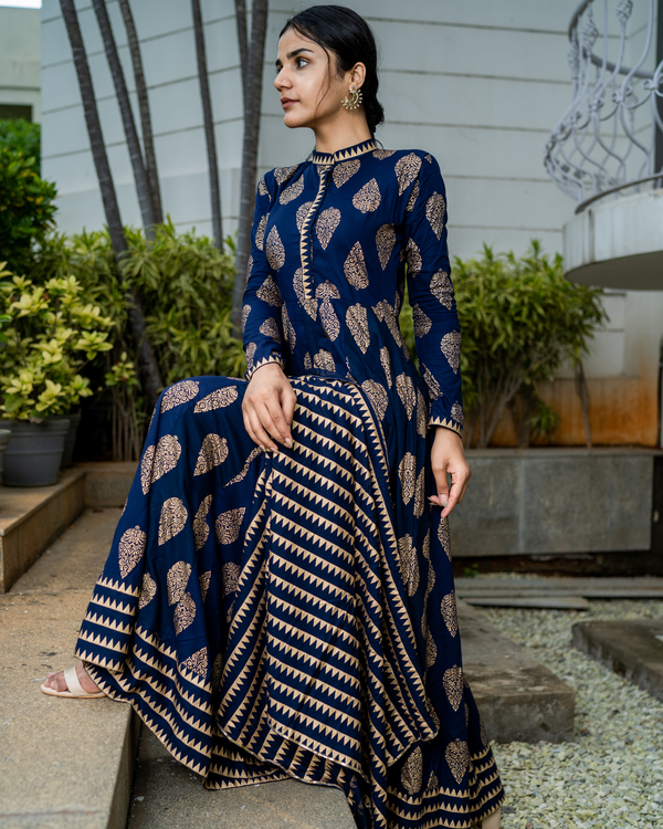 Navy blue cotton printed suit set- set of two 1