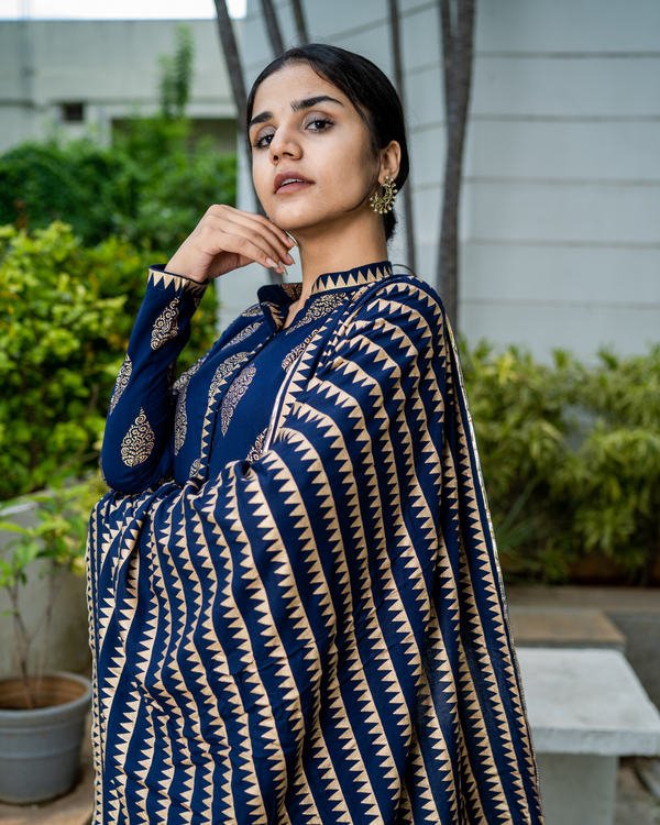 Navy blue cotton printed suit set- set of two 2