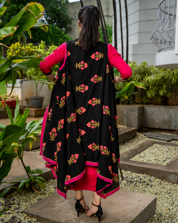 Magenta dress with printed jacket - set of two 3