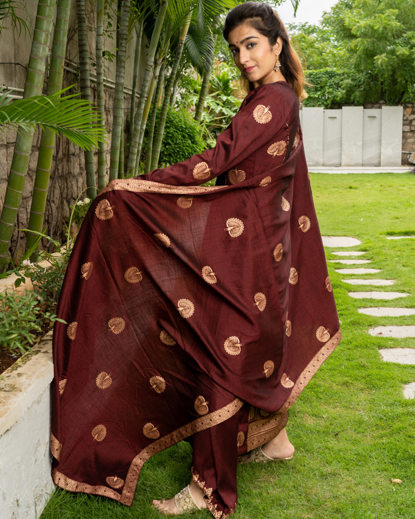 Maroon and Gold Layered Kurta with Dupatta - Set of Three 1