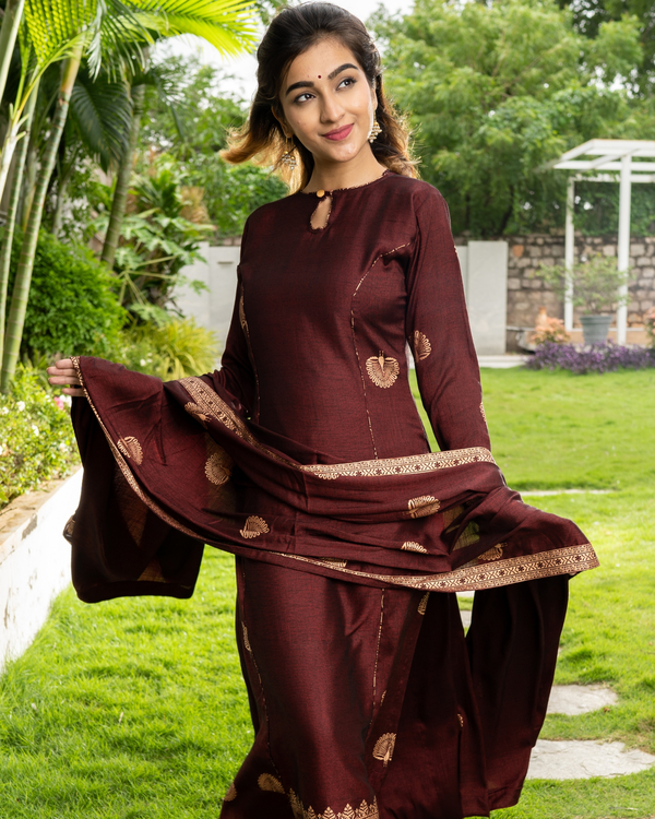 Maroon and Gold Layered Kurta with Dupatta - Set of Three 2