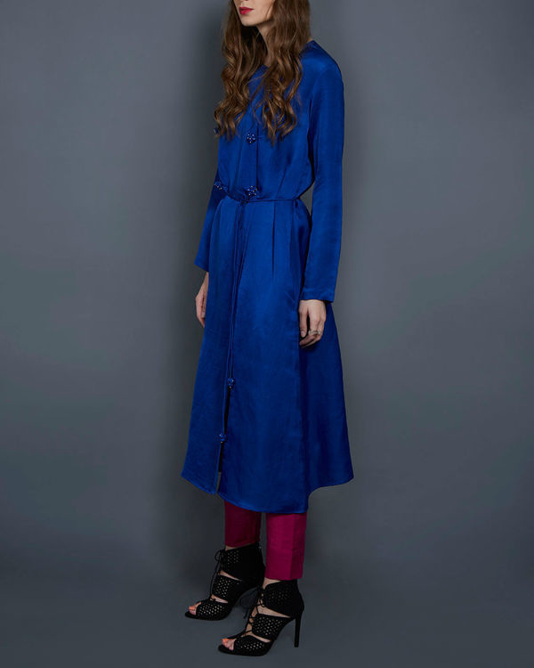 Cobalt blue tunic with front slit 1