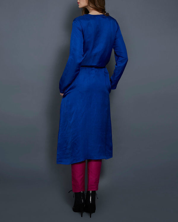 Cobalt blue tunic with front slit 2