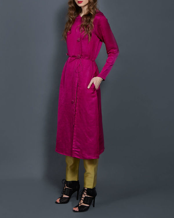 Pink tunic with front slit 1