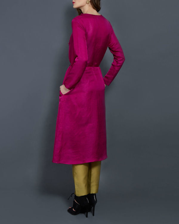 Pink tunic with front slit 2