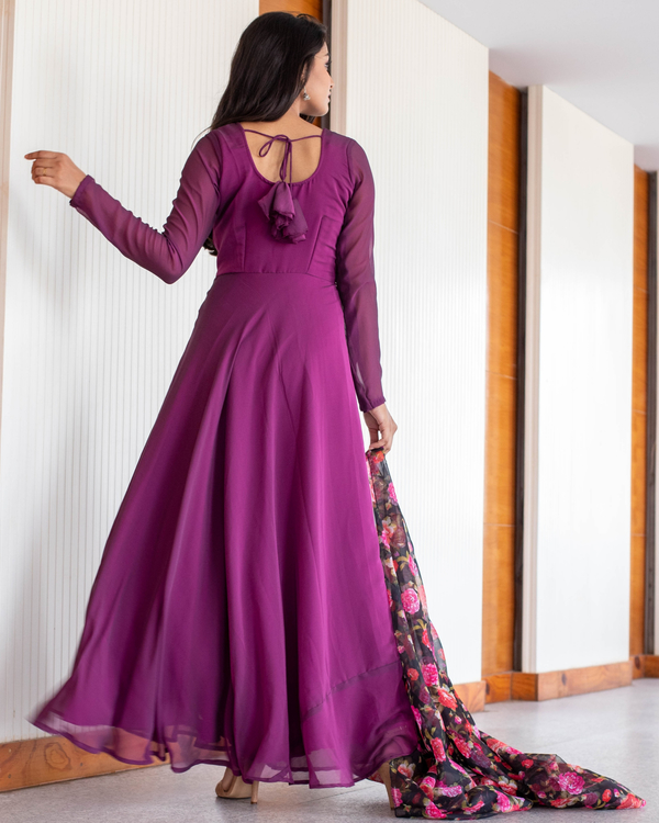 Wine Georgette maxi with floral organza dupatta-set of two 1