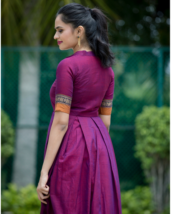 Purple box pleated narayanpet handloom dress 1