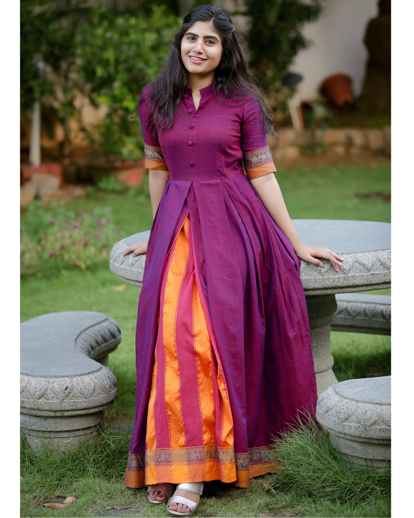 Purple box pleated narayanpet handloom dress 2