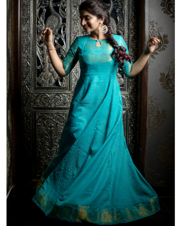 Turquoise and gold madurai cotton maxi 2