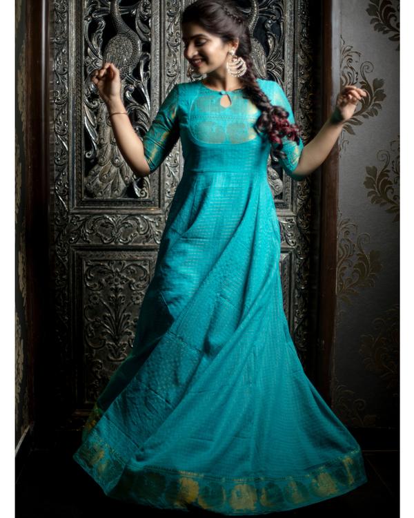 Turquoise and gold madurai cotton maxi 2