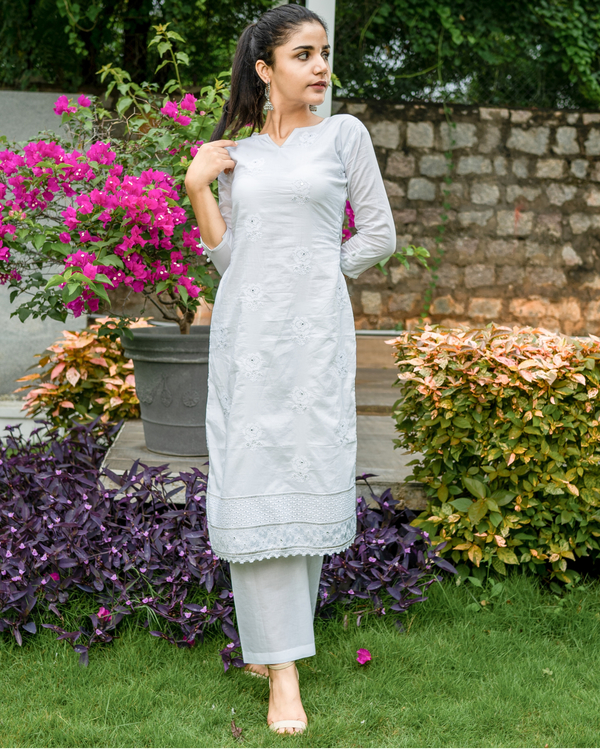 White embroidered kurta set with chikankari dupatta - set of three 3