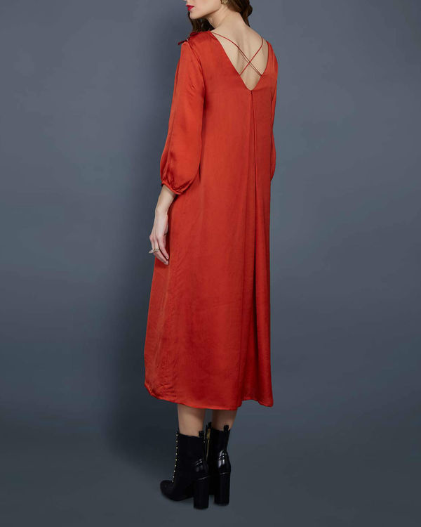 Orange tunic with embellished neckline 2