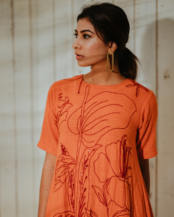 Tangerine foliage high-low tunic 1