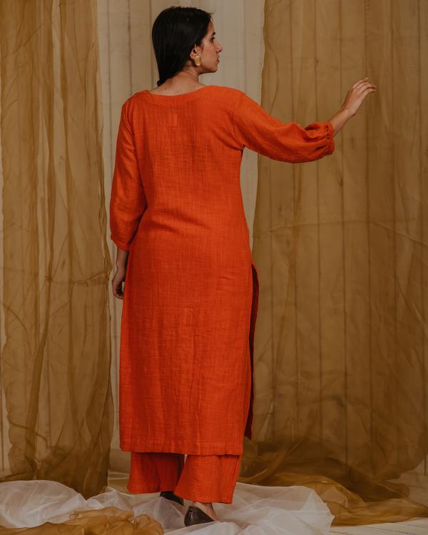 Tangerine birds of paradise embroidered kurta 1
