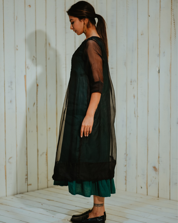 Black organza pin tuck dress set-set of two 1