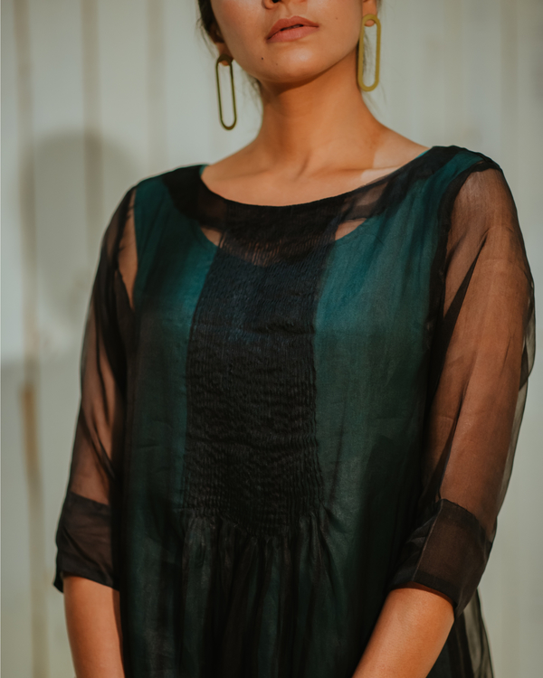 Black organza pin tuck dress set-set of two 2