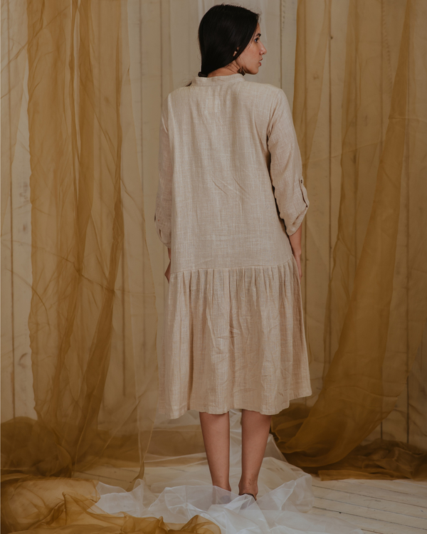 Beige pleated paradise plant embroidered tunic 1