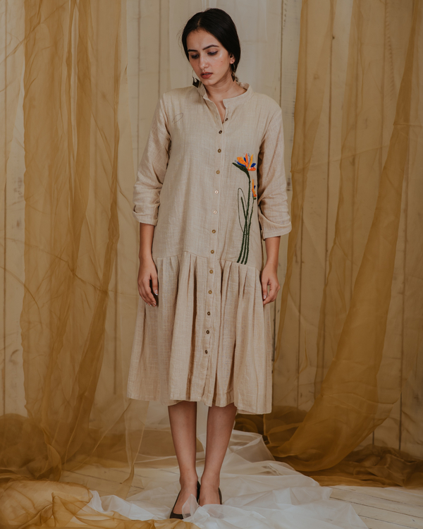 Beige pleated paradise plant embroidered tunic 2