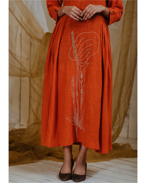 Tangerine anthurium dress 1