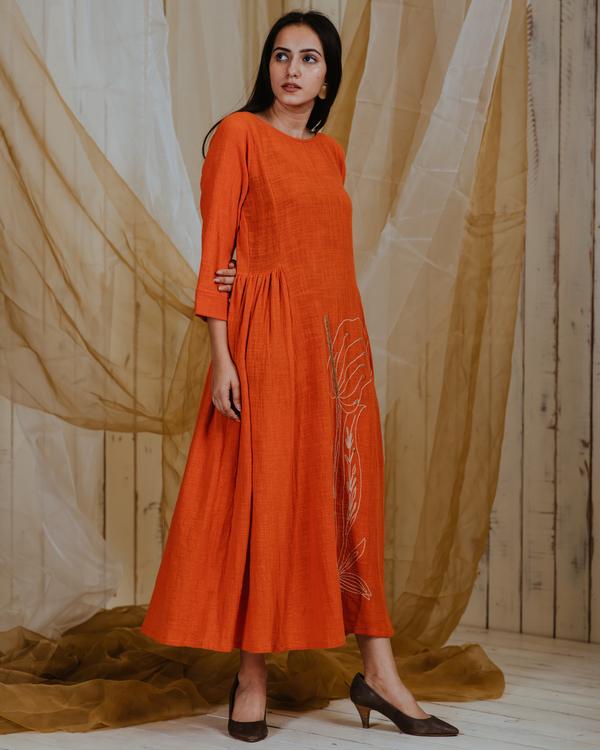 Tangerine anthurium dress 2
