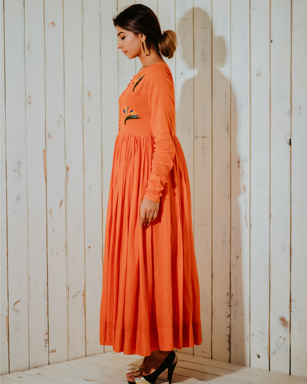 Tangerine lost paradise embroidered maxi 4