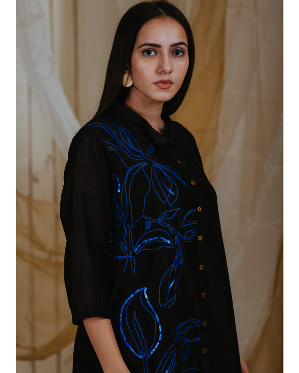 Black chanderi moonlit embroidered tunic 1