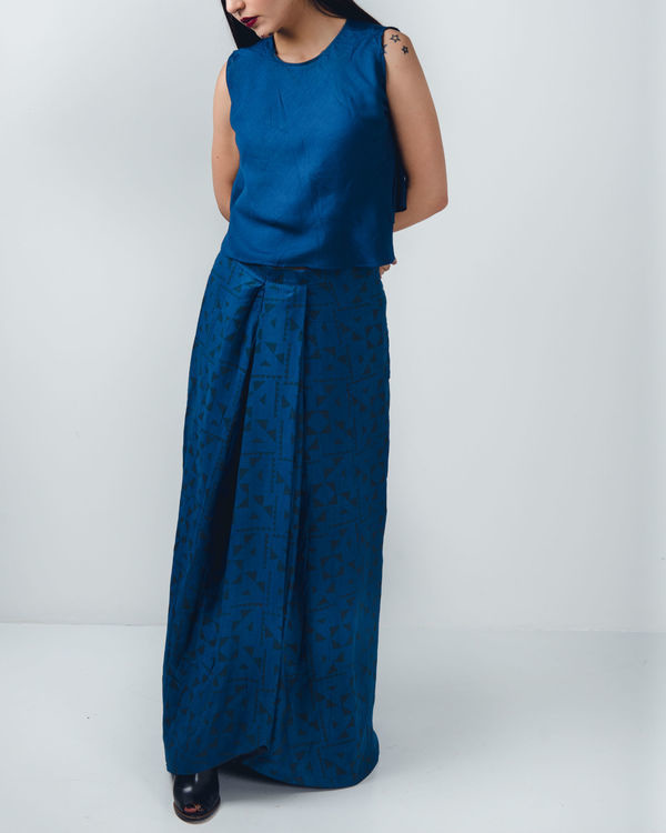 Blue pleated skirt 1