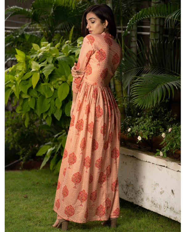 Peach printed cotton cape with pants - set of two 3