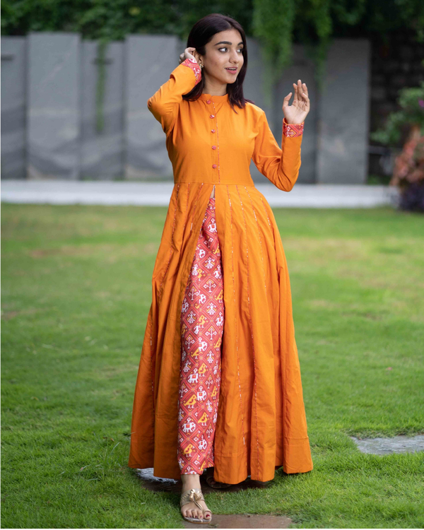 Mustard cotton cape with patola pants - set of two 3
