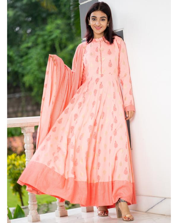 Salmon peach kalidaar dress with dupatta - set of two 2