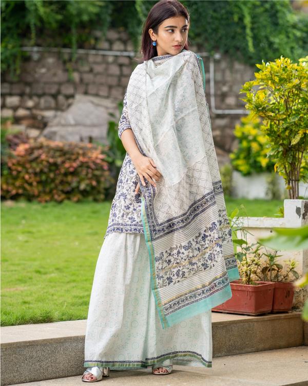 Block printed chanderi kurta with gharara pants and dupatta - set of three 5
