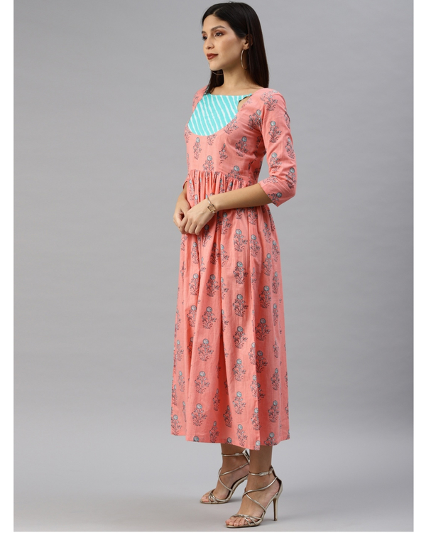 Peach printed a-line dress with turquoise yoke 1
