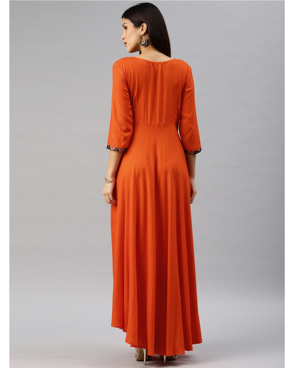 Orange fit and flare dress with yoke 2
