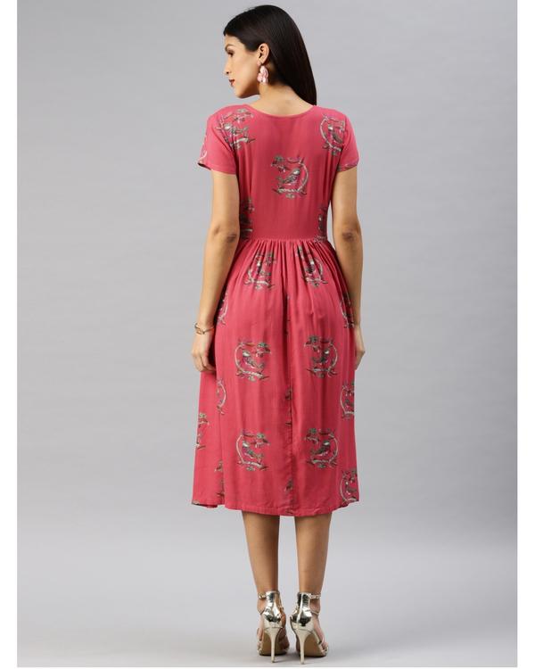 Pink printed a-line dress 2