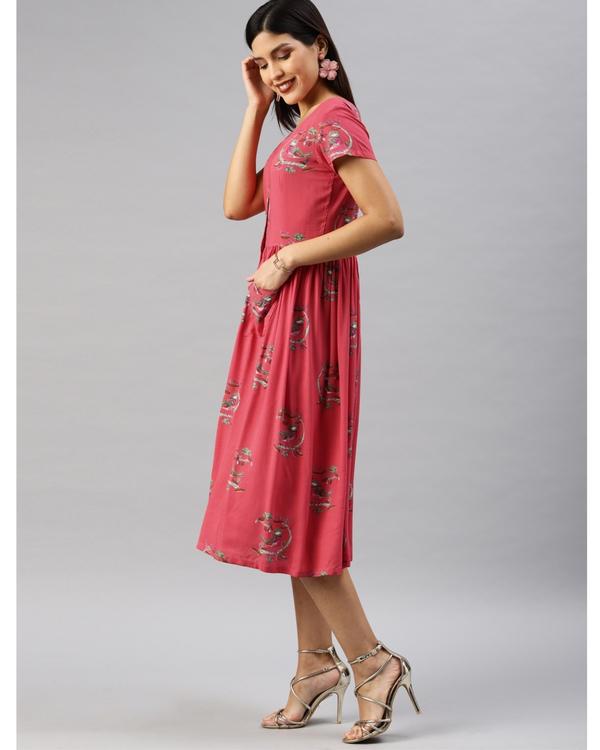 Pink printed a-line dress 1