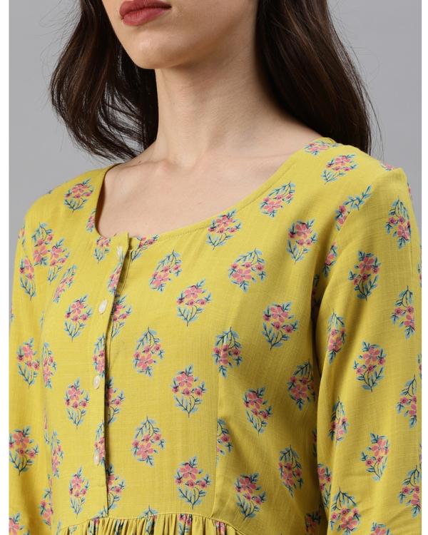 Yellow printed a-line dress 3