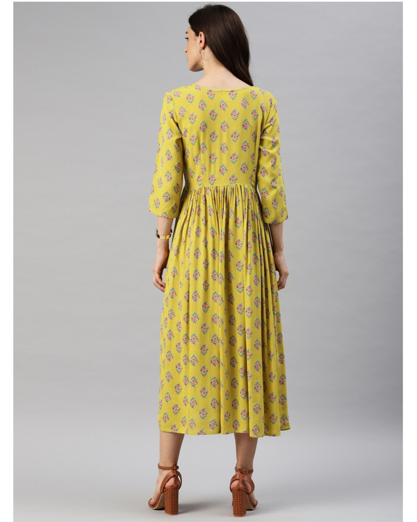 Yellow printed a-line dress 2