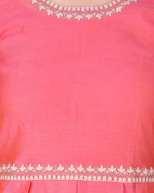 Fushia silk chanderi embroidered suit set - set of three 1