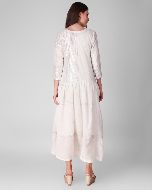 Ivory cotton crepe and lurex stripe gathered dress 3