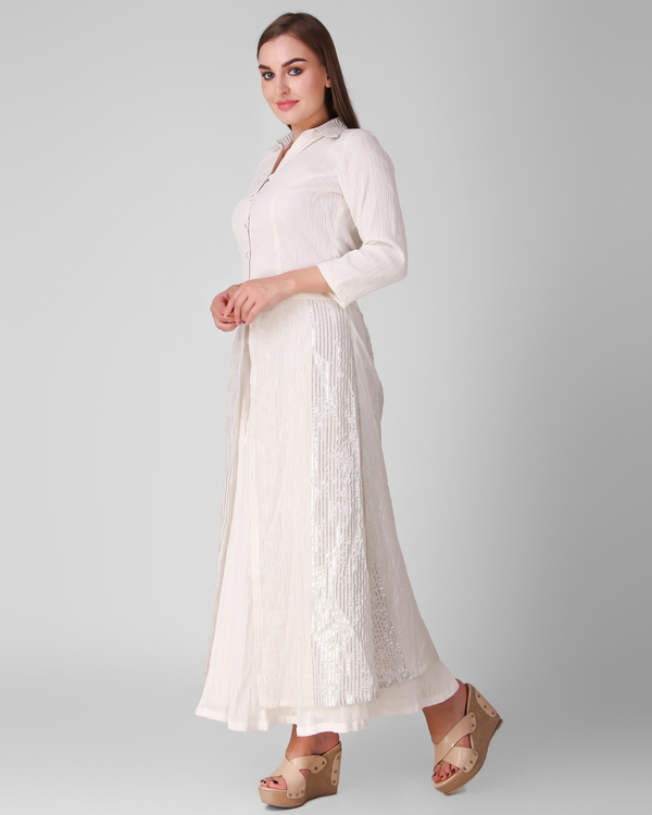 Ivory cotton crepe button down overlay with skirt - set of two 2