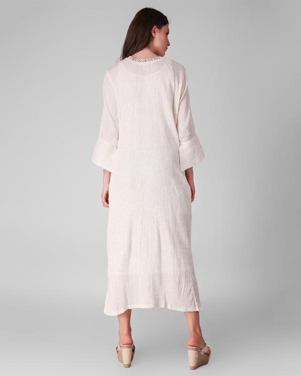 Ivory cotton crepe lurex dress - set of two 3