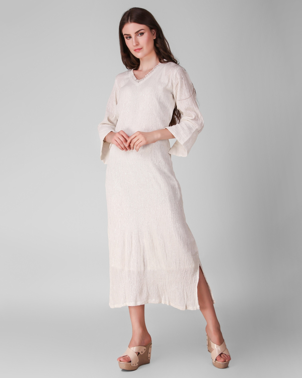 Ivory cotton crepe lurex dress - set of two 2