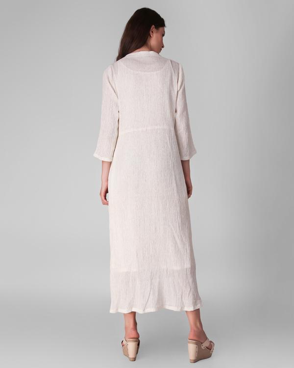 Ivory cotton crepe lurex asymmetrical dress - set of two 3