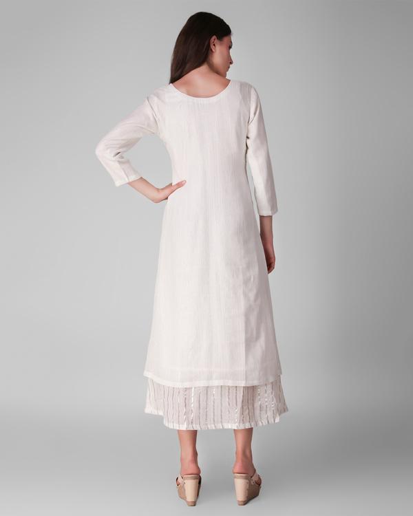 Ivory cotton lurex layered dress 3