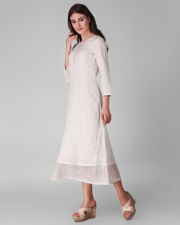 Ivory cotton lurex layered dress 2