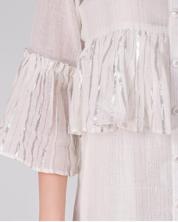 Ivory cotton lurex frill dress - set of two 4