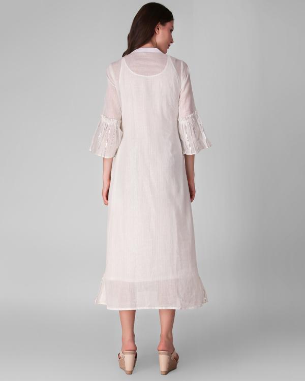 Ivory cotton lurex frill dress - set of two 3