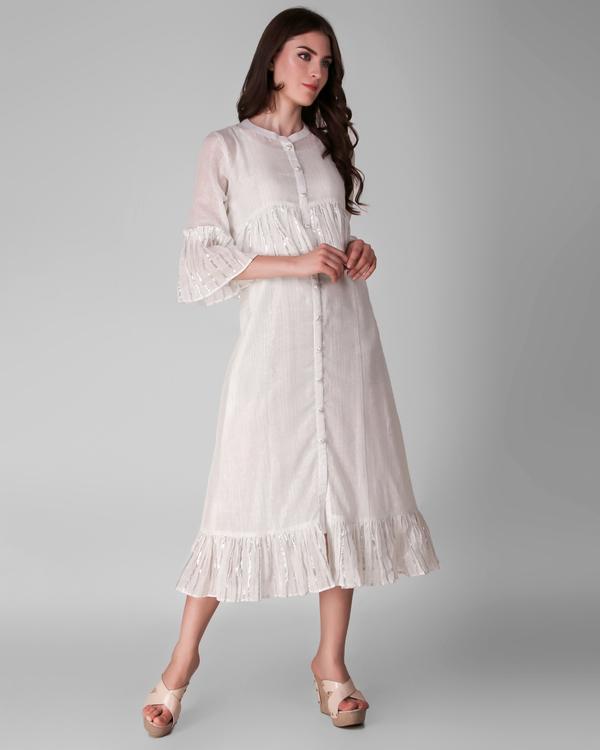 Ivory cotton lurex frill dress - set of two 2